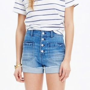 Madewell High Rise Denim Shorts Button Front Ed